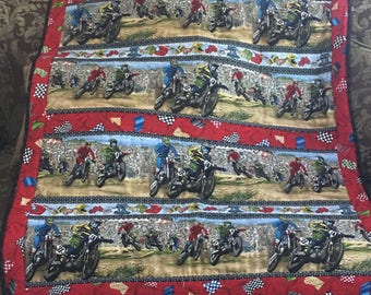 Motorcycle Quilt and Pillowcase