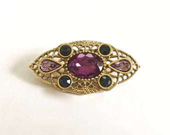 Vintage Gold Toned Filigree Brooch with Faux Amethyst and Sapphire Stones, Lapel Pin, Jacket Pin Brooch, Victorian Brooch