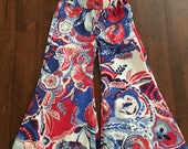 Bell Bottoms- Bells- Flaired Leg pants- red/white/blue pants- red/white/blue floral bells