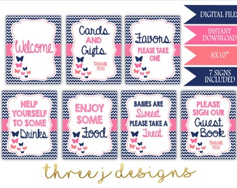 Butterfly Baby Shower Table Sign Package - Bundle of 7 Signs - INSTANT DOWNLOAD - Navy Blue, Pink and Coral - Digital Files - J003