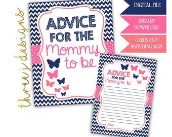 Butterfly Baby Shower Advice for the Mommy To Be Cards and Sign - INSTANT DOWNLOAD - Navy Blue, Pink and Coral - Digital File - J003