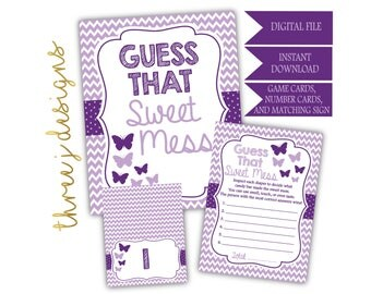 Butterfly Baby Shower Guess That Sweet Mess Game Cards and Sign - INSTANT DOWNLOAD - Plum and Lavender - Digital File - J004