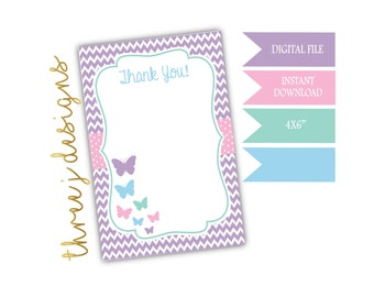 Butterfly Birthday Party Thank You Card - INSTANT DOWNLOAD - Pastel Purple, Pink, Green and Blue - Digital File - J010