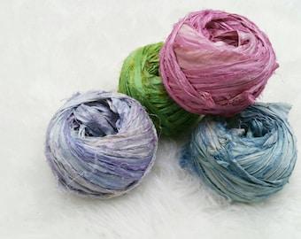 Sari Silk Ribbon ~ Hand Dyed ~ Ethically Sourced ~ Eco Yarn ~ Weaving Yarn ~ Ribbon Yarn