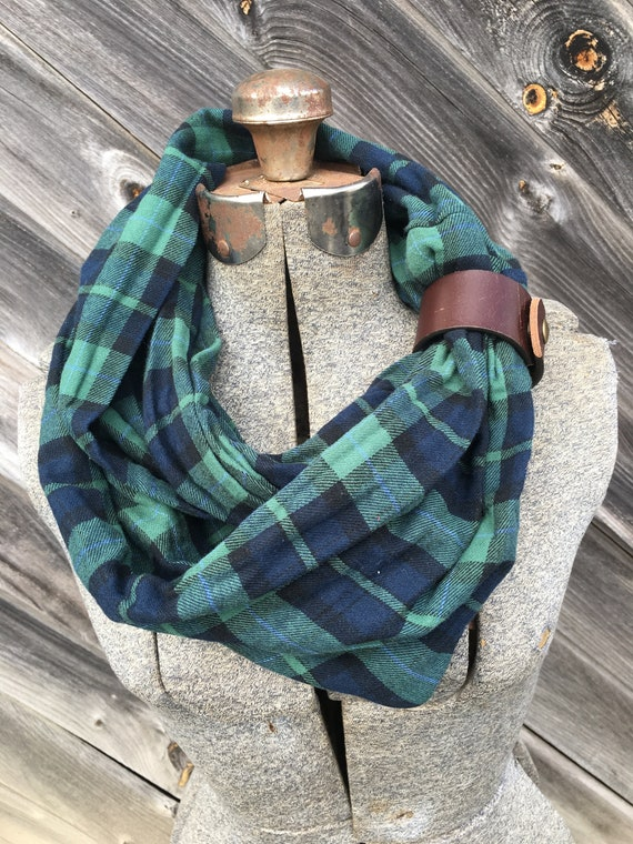 Green and blue  plaid flannel eternity scarf with a brown leather cuff - soft, trendy
