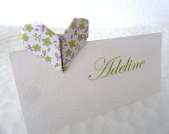Brand instead origami hearts liberty green and purple wedding - christening - birthday decoration