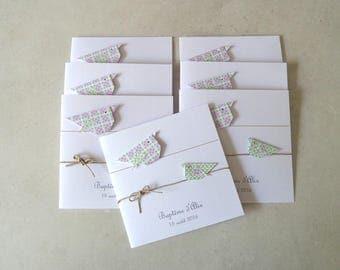 Make baptism, original for girl - greeting card, pink, green origami birds / handmade / handcrafted