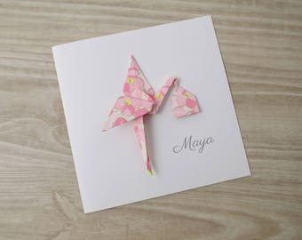Share birthday girl - pink Japanese paper origami Stork duplex card origami / high quality