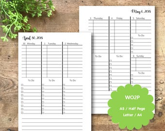 Weekly Planner Printable 2018, WO2P, A5, Half Page, Letter, A4, Weekly Planner Inserts, Weekly Planner Pages, Filofax, Kikki K, WRK