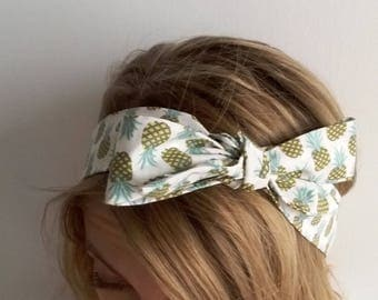 Pineapple pattern bow headband