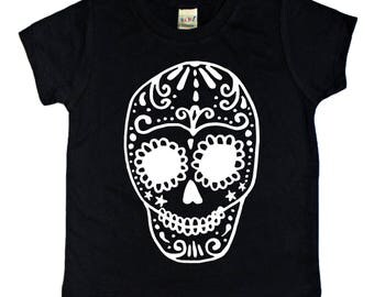 Sugar Skull Shirt, Dia De Los Muertos Shirt, Skull Shirt, Halloween shirt, kids halloween shirt, boys halloween shirt, girls halloween shirt