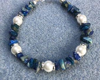 Sodalite and pearl silver bracelet