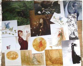 Set of 13 fairy postcards, various sizes