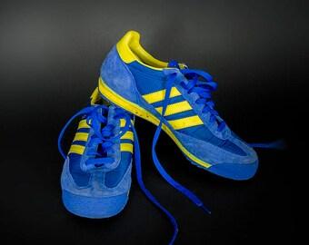 Retro 1970's Style ADIDAS Kicks, Vintage 1970's Style Adidas Runners, Retro 1970's Style Adidas Royal Blue Sneakers with Yellow Stripes SL72