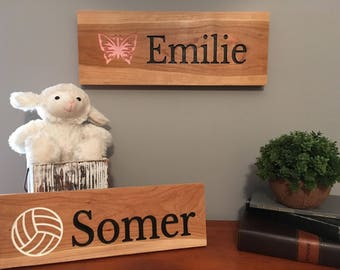 Nursery Sign-Girls Sign-Personalized Wooden Name Sign-Name Sign-Engraved, Hand Painted Sign, Nursery Decor-Cedar Sign-Personalized Design