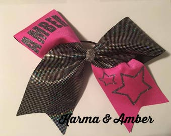 Pink & black/silver PERSONALIZED Cheer Bow CHOOSE A NAME