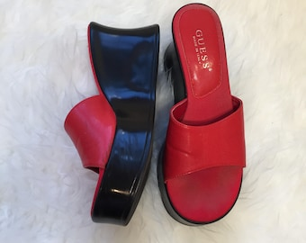 Vintage Red & Black Guess Slip On Wedge Sandals