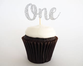 Silver glitter One cupcake toppers   First birthday toppers   1st birthday cupcake toppers   Silver glittery cupcake toppers Set of 12  