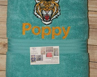 Turquoise Embroidered bath Towel, personalised towel, kid towel, custom towel, New born Baby gift, personalised gift, wedding gift, easter,
