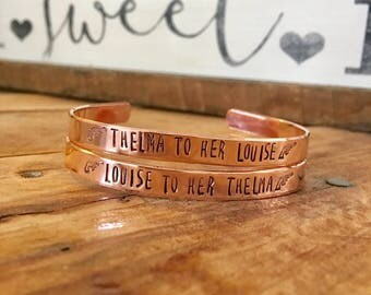 FREE SHIPPING, Thelma and Louise Cuffs, Best Friebds Cuff, Best Friends Jewelry