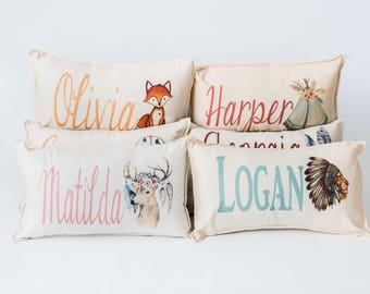 Personalised Pillow with boho image and name