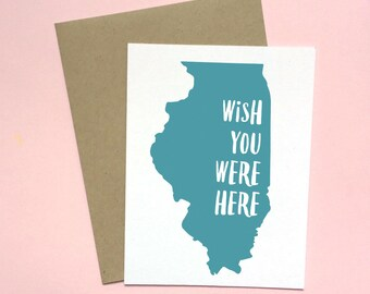 Illinois Card, Thinking of You Card, Wish You Were Here Card, Missing You Card, Friendship Card, Chicago Card, Midwestern Card, Love from IL