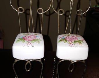 Vintage Bistro Chairs Salt & Pepper Shakers Pink Floral Design Japan