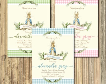 Vintage Peter Rabbit Baby Shower Invitation/Digital File/printable, girl, boy, coed, beatrix potter, couples, bunny/Wording can be changed