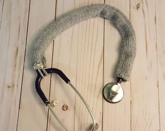 Stethoscope Cover • Cozy • Sweater! Hand Knitted! Nurse, RN, LPN, Cna, Vet, Doctor, Student, Medical, Midwife. Soft Gray!
