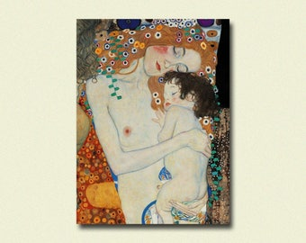 Gustav Klimt Art Print - Mother and Child - Klimt Prints Klimt Reproduction Gift Idea Art Reproduction Nursery Decor  sm