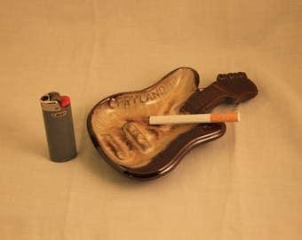 Vintage Opryland Nashville, Tennessee Guitar Shaped Ceramic Ashtray!