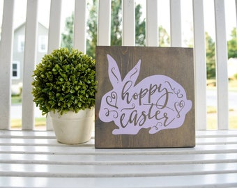 Hoppy Easter wood sign.  Easter sign, Easter decor, Spring, Spring sign, Easter, bunny, bunny decor, Hoppy Easter, Spring decor, Bunny sign.