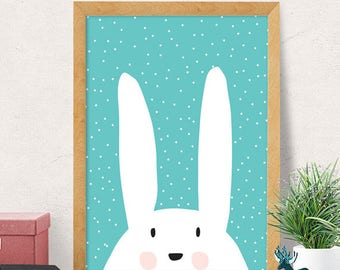 Bunny print, Nursery wall art, Modern Nursery decor, cute print, cute nursery,  bunny nursery, Nursery wall decor, Kids room decor, Minimal