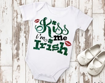 Kiss Me I'm Irish St. Patricks Day Baby Shower Birthday Gift Idea Boy Toddler Clothing Romper Shirt Tee Coming Home Cute Funny Lass Laddy