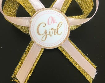 Oh girl  baby shower guest pins