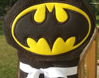 Batman Inspired Hooded Towel with FREE EMBROIDERED NAME