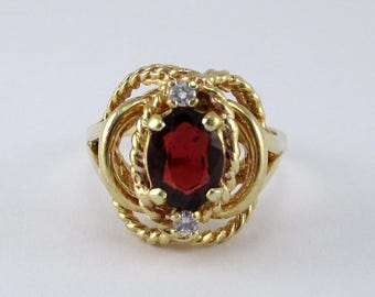 Vintage Garnet and Diamond Ring