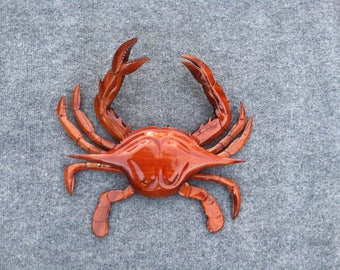 Mahogany Blue Crab Carving