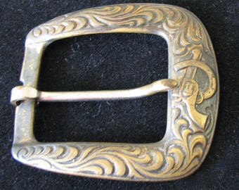 Vintage Buckle Childs Belt Western Brass Horseshoe Embossed