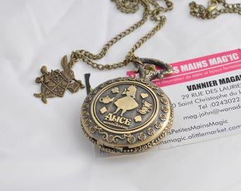 Watch has gusset Pocket necklace Alice in Wonderland