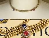 Antique Victorian 15k Gold Diamond Cluster Necklace c1890