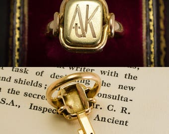 "Antique Victorian Bramah Key Signet Ring ""AJK"" Monogram in 15k Gold, c1890"