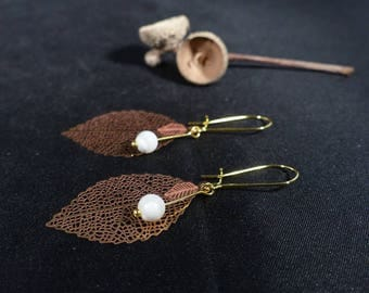 Bohemian earrings ~, ~ Pearl leaf ~ ~