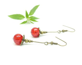 Poppies • earrings vintage handmade red earrings • red glass bead. Red jewelry