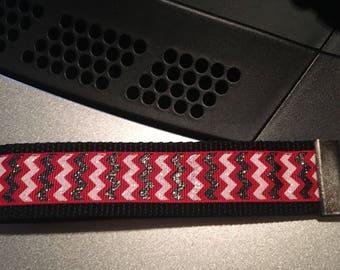 Red black White Chevron key fob