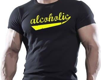 Alcoholic. Black Men's Cotton T-shirt