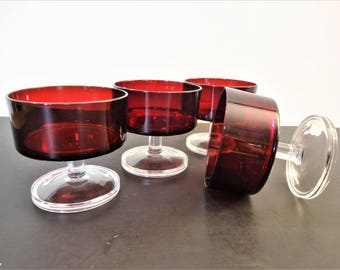 Luminarc Cavalier Ruby Red Coupe Champagne or Sherbet - Set of 4 - Made in France - Arcoroc - Holiday