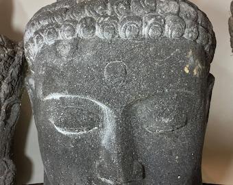 Large Carved Volcanic Stone Buddha Head Snail Head Design Carved Stone Zen Garden Sculpture