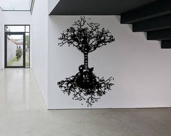 Wall Window Sticker Decal Guitar Tree Roots Music Rock Guitar Electric Musician Branches birds Living Room kids children room Decor 1216b
