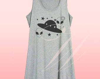 Alien space shirt Funny quote white tank/grey dress/ v neck shirts XS S M L XL women tops